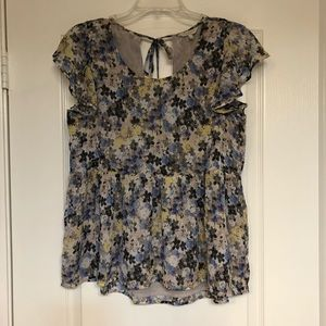 Lucky Brand Floral Short Sleeve Blouse Size Small